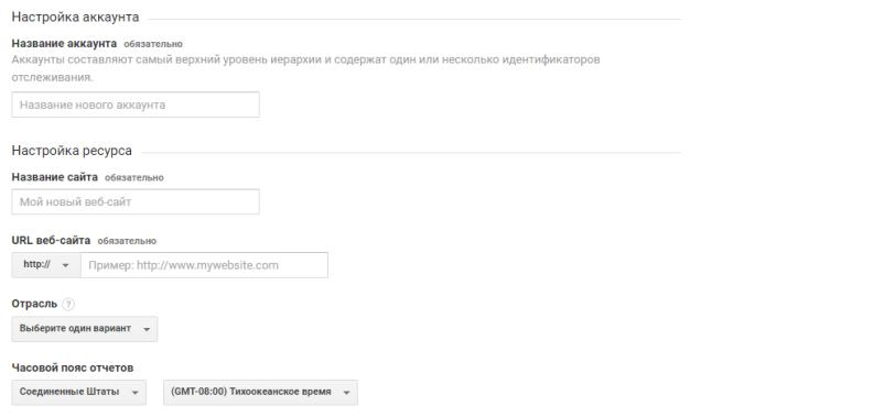 Настройка аккаунта Google Analytics