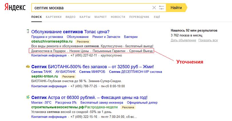 Что такое уточнения в Яндекс Директ