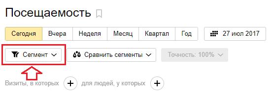 Создаём сегмент в Яндекс Метрике