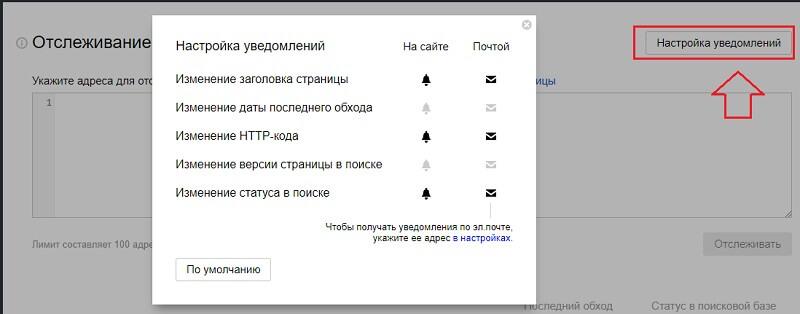 Отслеживание страниц в Яндекс Вебмастер
