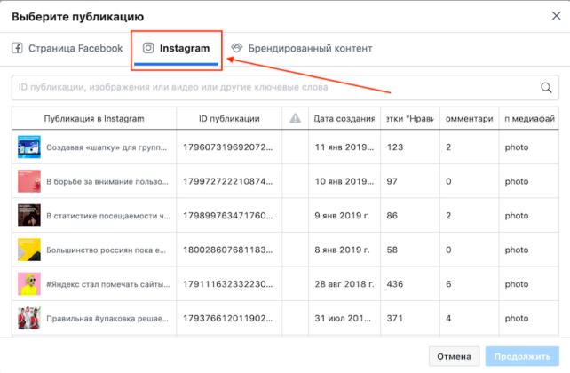как продвигать публикацию в инстаграм через фейсбук