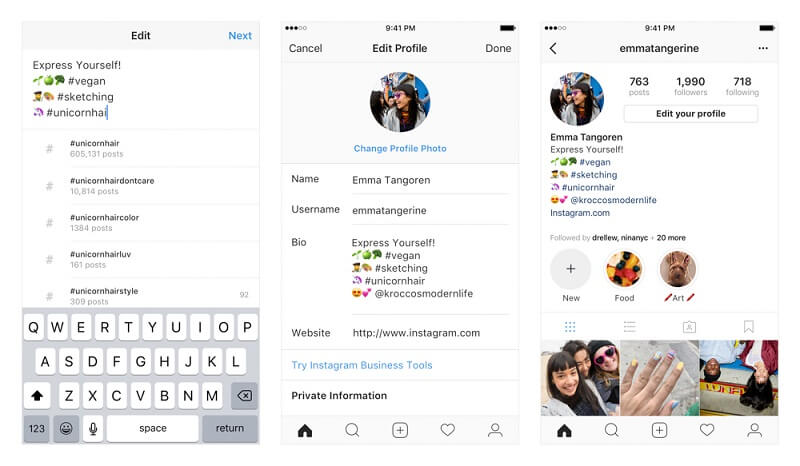 Как добавить активный хэштег или ссылку на другой аккаунт Инстаграм