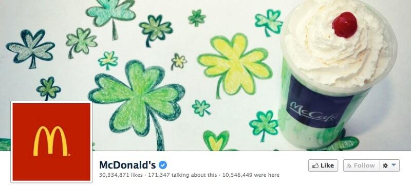 Обновленная обложка в честь Дня святого Патрика от McDonald's