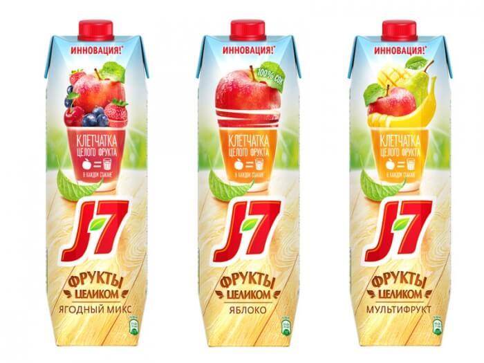 Ассортимент соков J7 с клетчаткой