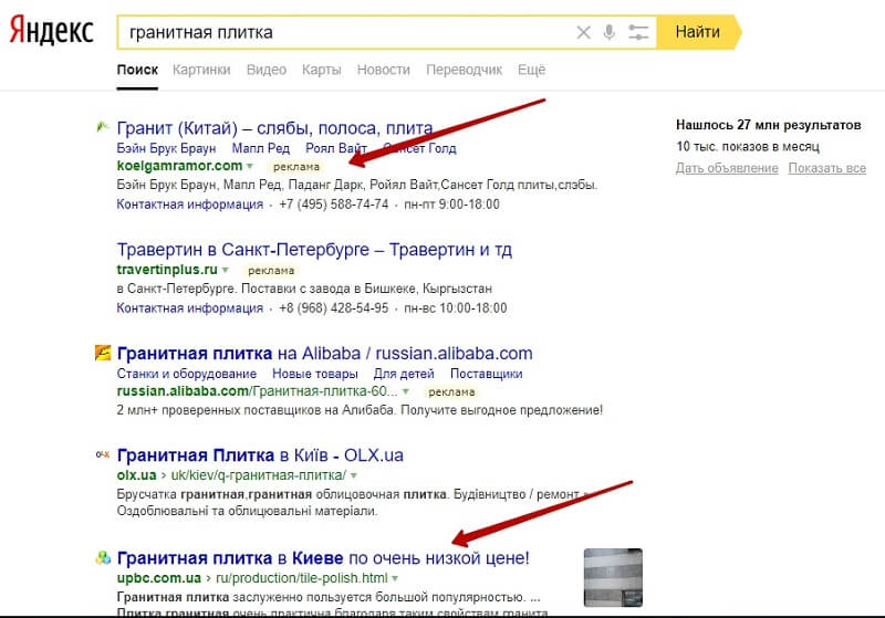 Коммерческие запросы в Яндекс