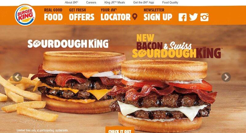 Главная страница бургер кинг
