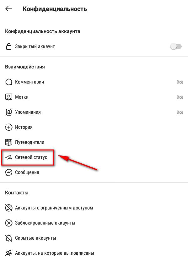 Как скрыть сетевой статус в Инстаграм