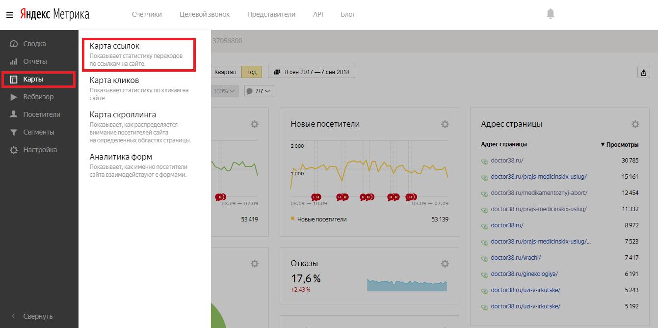 Карта ссылок в Яндекс Метрике