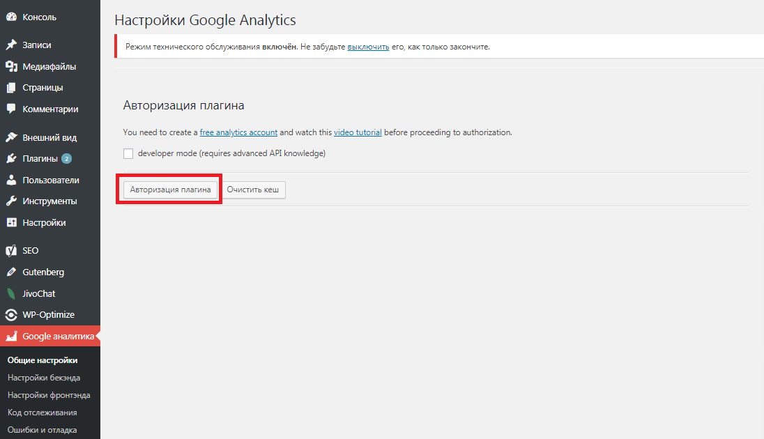 Настройка google analytics на wordpress