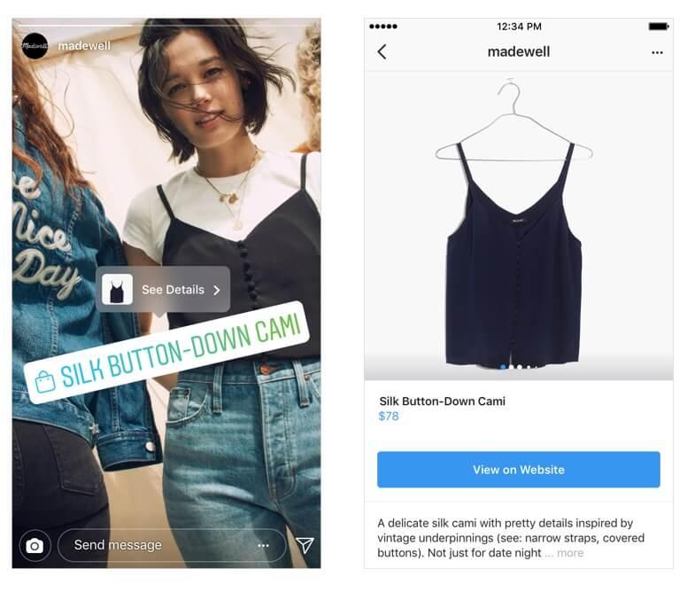 товарных тегов в Instagram Stories