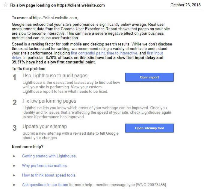 Уведомление о медленных страницах в Гугл Сёрч Консоль