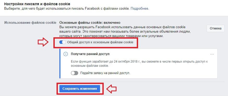 Настройка куки пикселя фейсбук