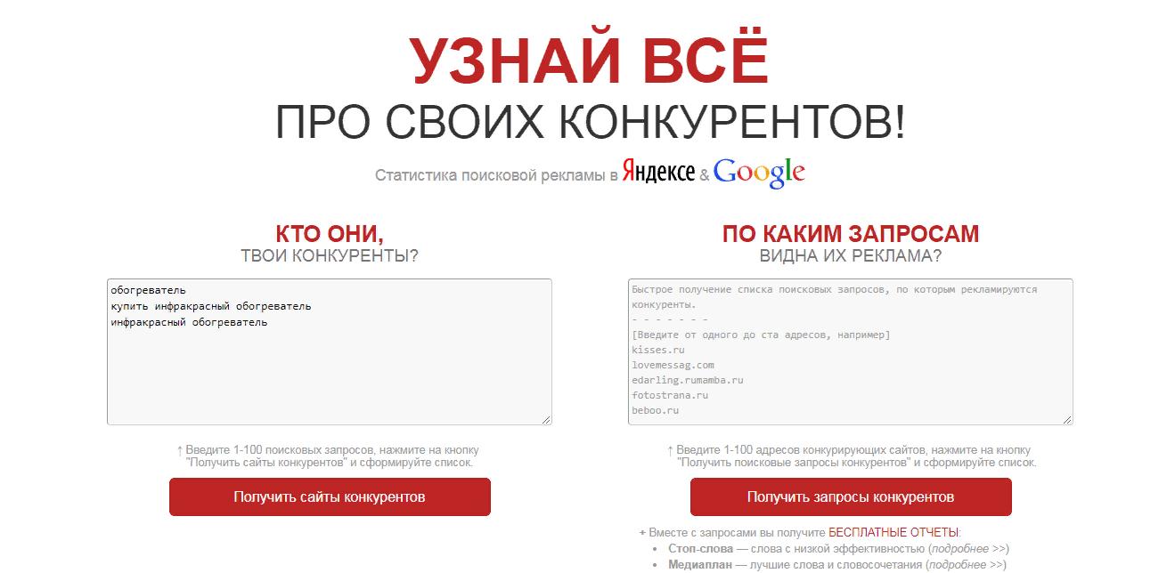 Сервисы анализа конкурентов в Яндекс Директ