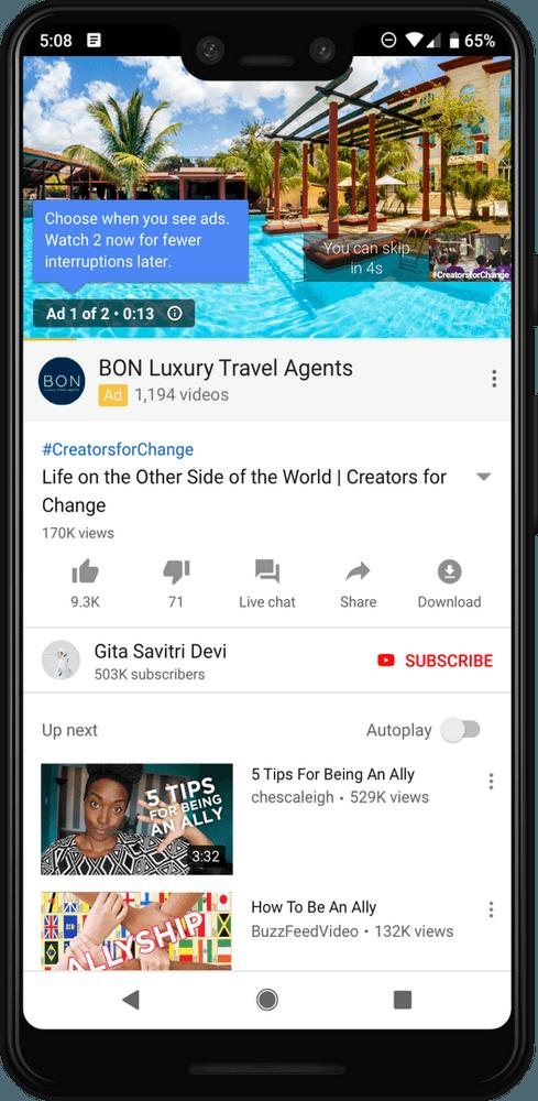 2 рекламных ролика на Ютуб