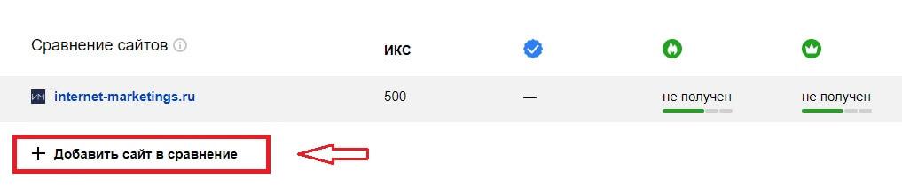 Сравнение сайтов в Яндекс.Вебмастере