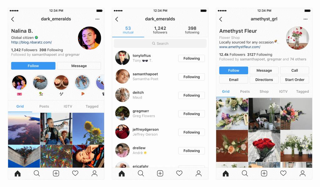 Примеры потенциальных изменений в вашем профиле Instagram