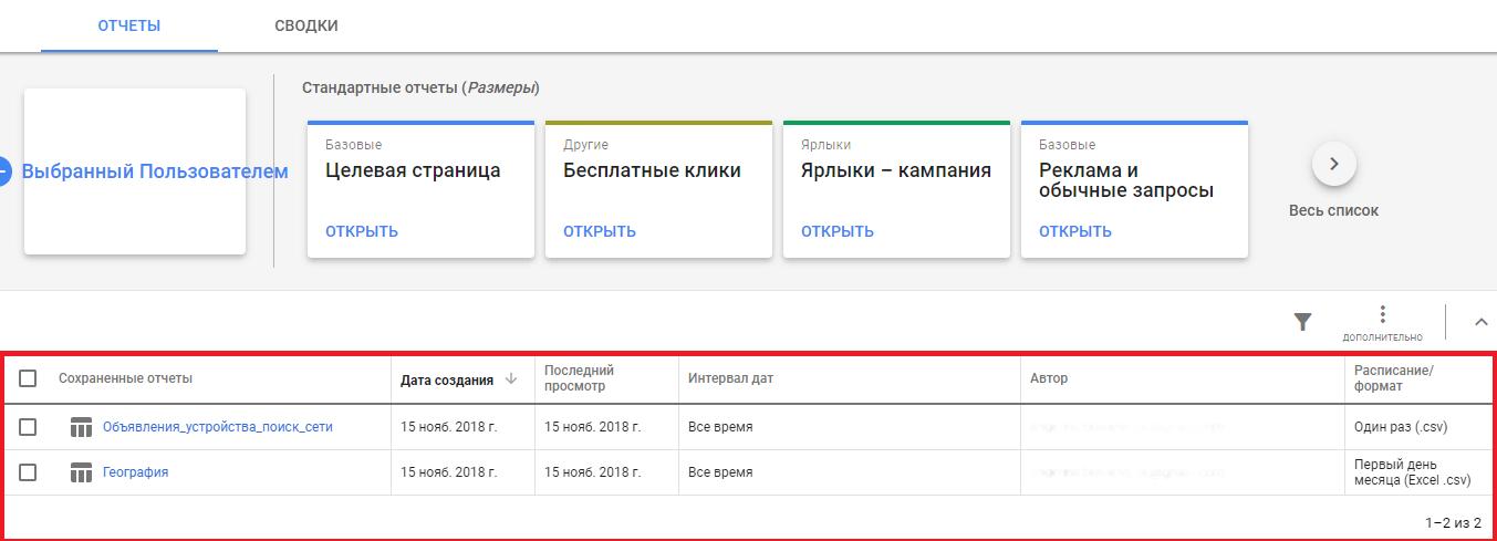 Новый пользовательский отчёт Гугл