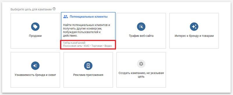Рекомендуемые типы кампании в Google Ads