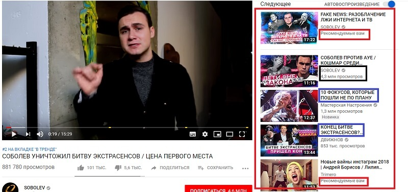 Что такое похожие и рекомендованные видео на YouTube
