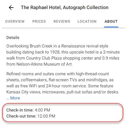 В Google My Business можно указать время заезда и выезда из отеля