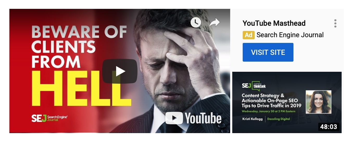 YouTube masthead ad