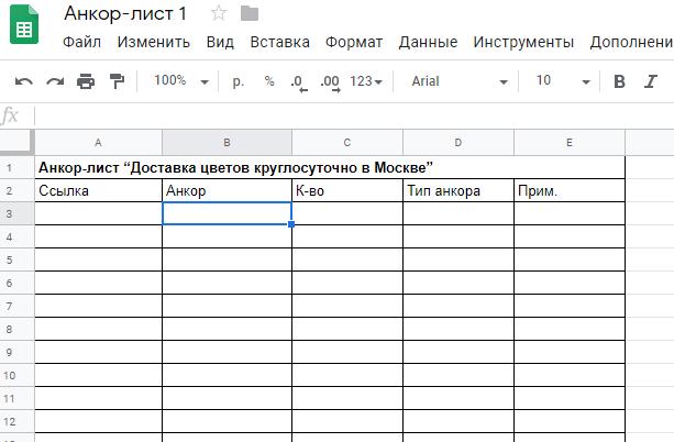 Как составить анкор-лист