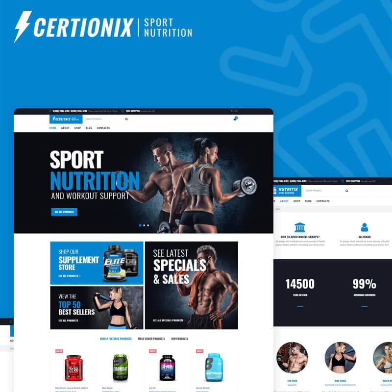 Certionix – шаблон WooCommerce интернет-магазина спортивного питания