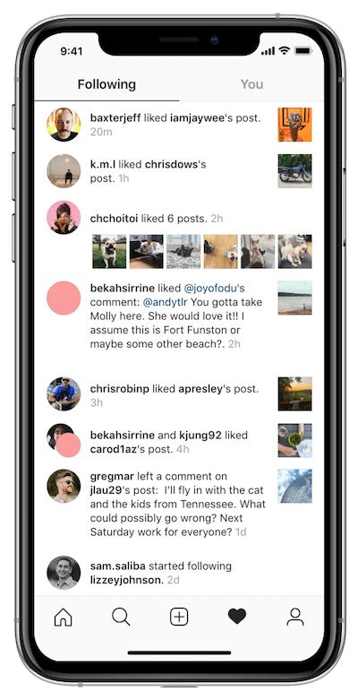 Вкладка подписки в Инстаграм