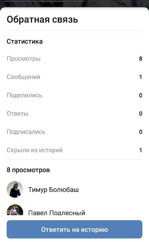 Статистика историй сообщества ВКонтакте