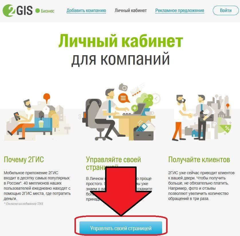 Управление странице компании в Дубль Гис
