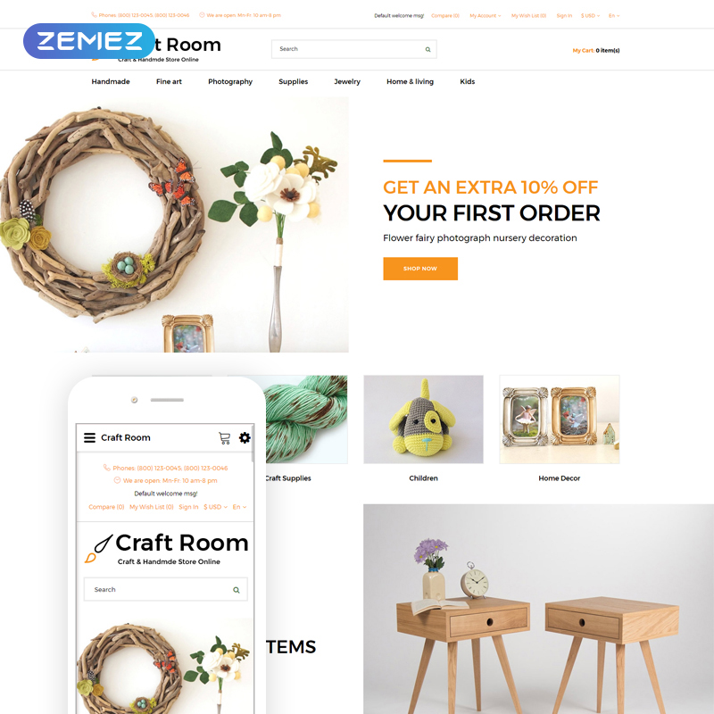 OpenCart шаблон Craft Room - Handmade Responsive Stylishe