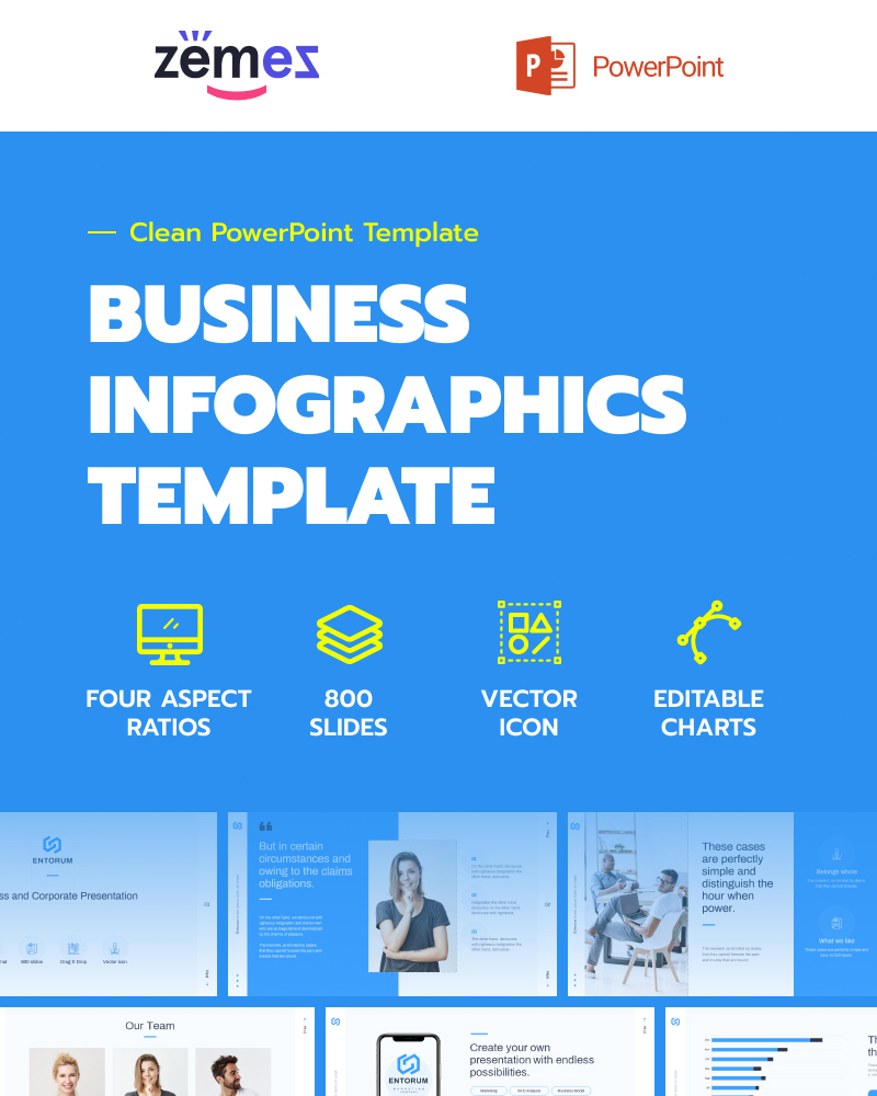 PowerPoint шаблон Entorum - Business with flexible infographics
