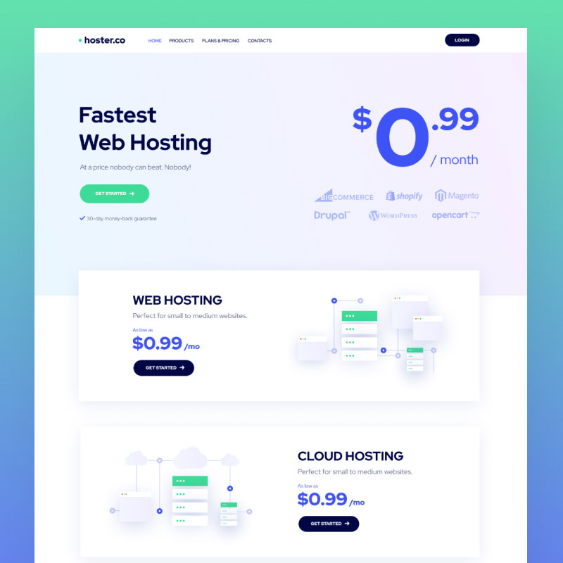 WordPress шаблон Hoster.co - Web Hosting Template for Providers Company with Elementor
