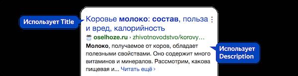 Сниппет в поиске Яндекс