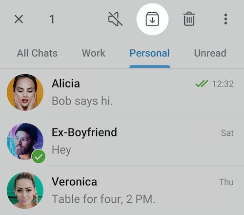 папки чатов на Android