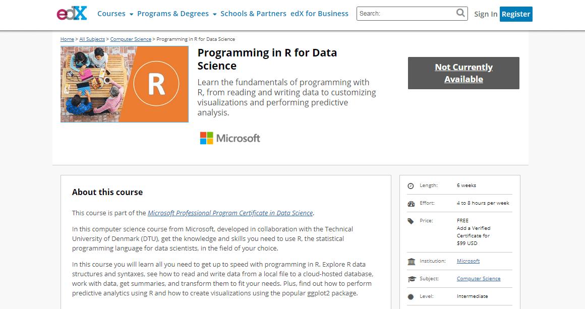 Курс «Программирование на R в науке о данных» от «Microsoft»