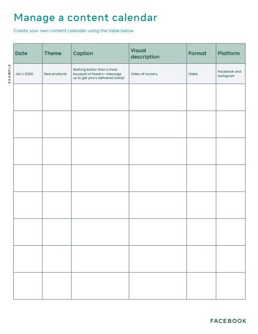 Календарь контента для социальных сетей