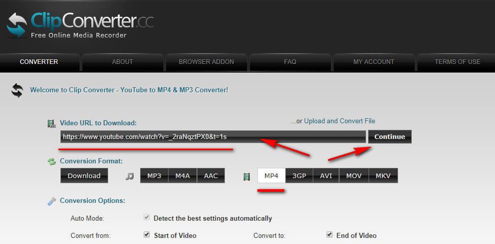 Clipconverter - онлайн-сервис для скачивания видео