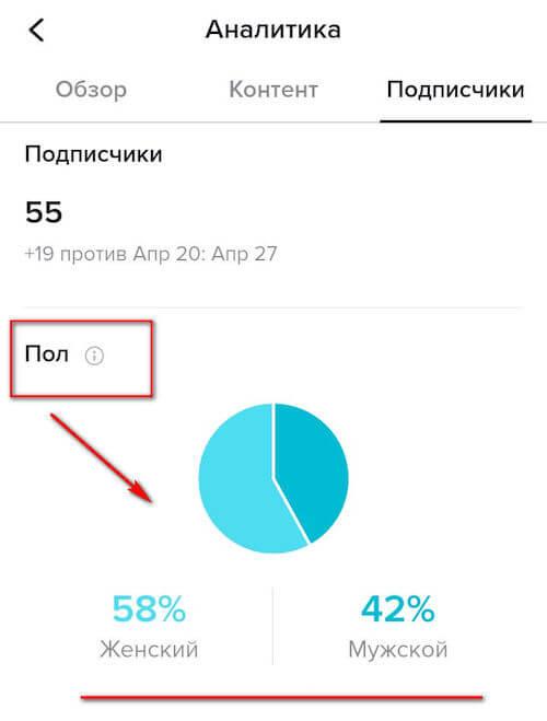 Пол подписчиков в TikTok