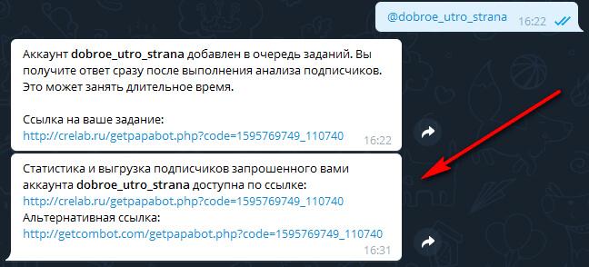 Бот в Телеграмме для анализа для статистики подписчиков чужого профиля
