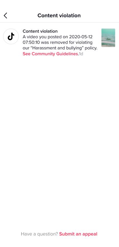 Как понять за что удалили видео в Тик-Ток