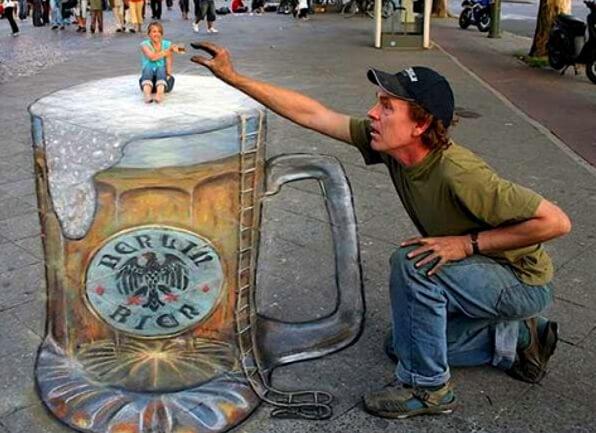 3D граффити на асфальте