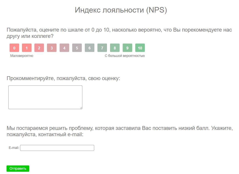 Пример анкетирования по индексу лояльности