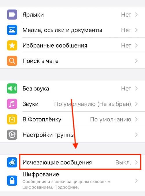 Как включить или отключить исчезающие сообщения в чате WhatsApp