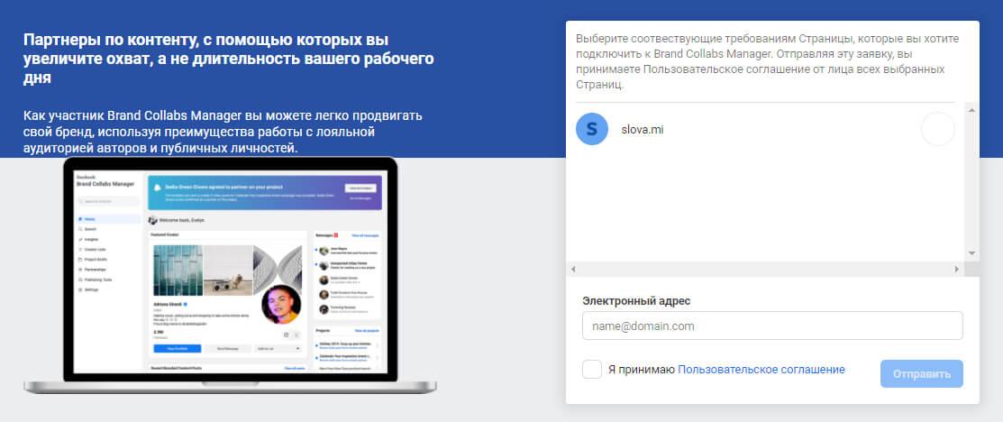 Регистрация в Brand Collabs Manager
