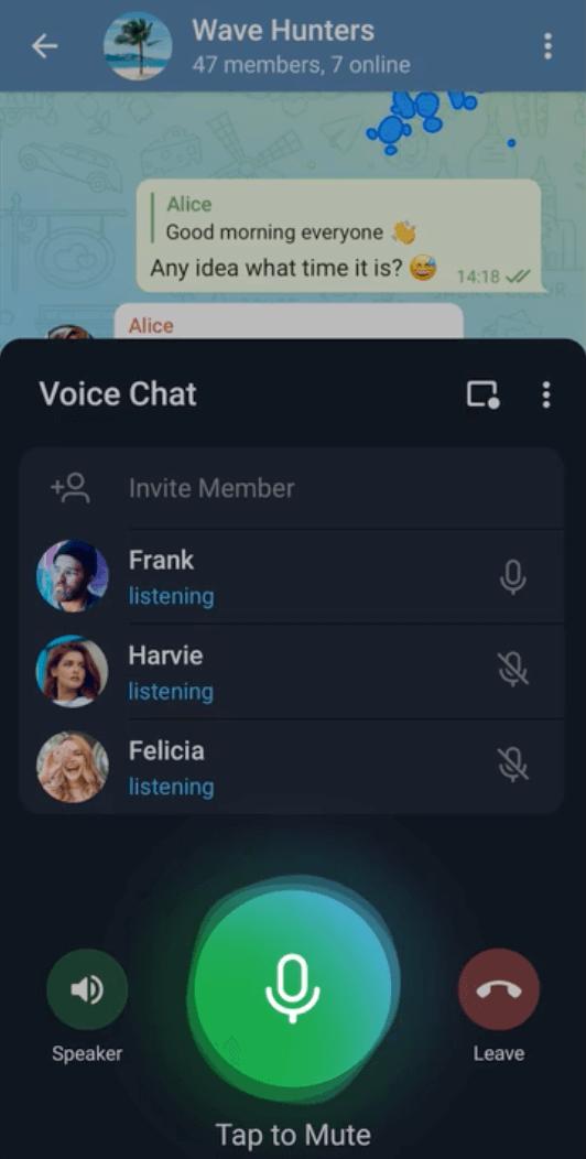 Как вступить в голосовой чат в Телеграм