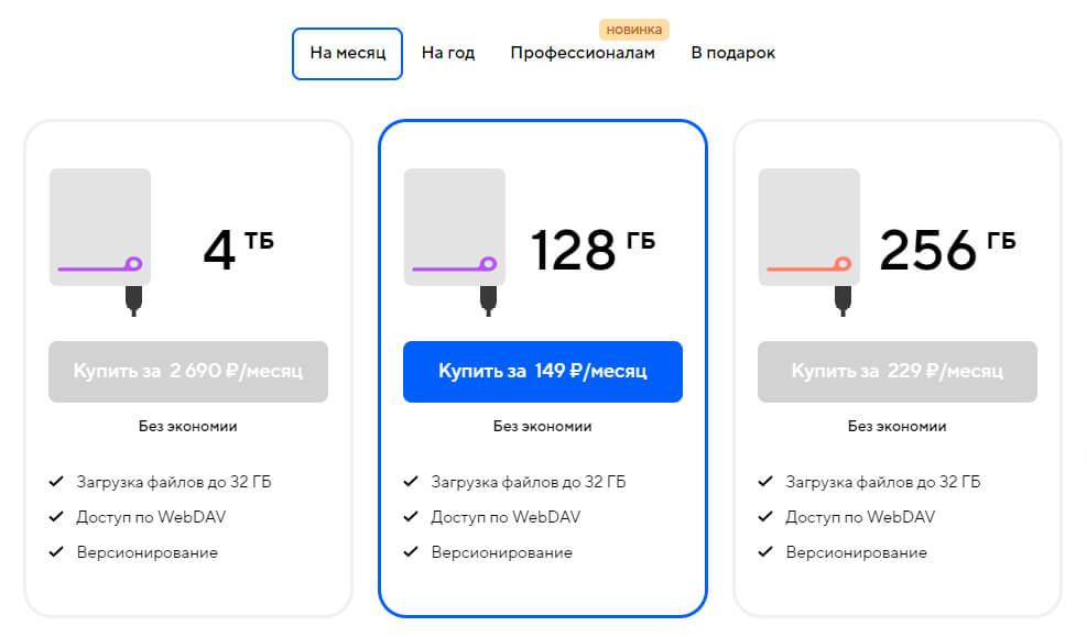 Тарифы Облако Mail.ru