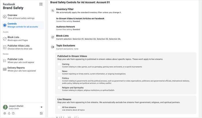 Исключение тем для рекламы в Facebook