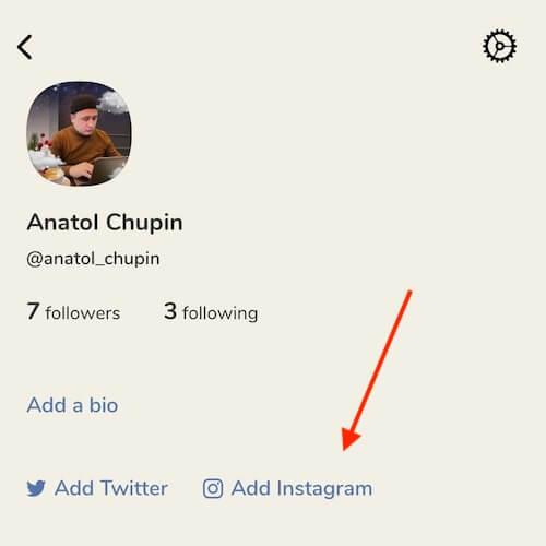 добавить ссылку на Инстаграм в Клабхаус