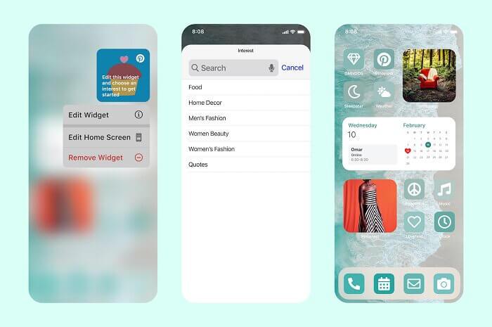 Pinterest запускает новый виджет для iOS под названием Interests